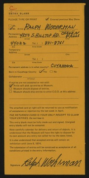 Entry card for Woehrman, Ralph for the 1974 May Show.