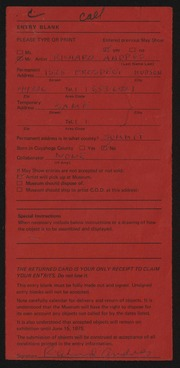 Entry card for Andres, Richard for the 1975 May Show.