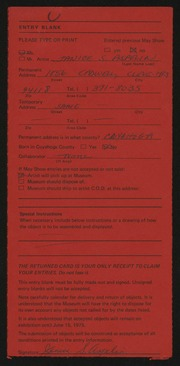 Entry card for Aspelin, Janice Snyder for the 1975 May Show.