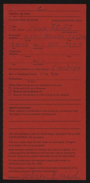 Entry card for Baird, John William for the 1975 May Show.