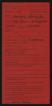 Entry card for Banyas, Deborah  for the 1975 May Show.