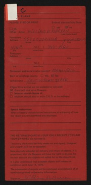 Entry card for Barron, William D. for the 1975 May Show.