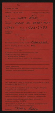 Entry card for Bass, Nina Downey for the 1975 May Show.