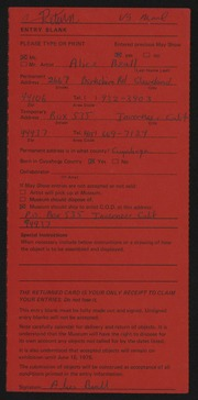 Entry card for Beall, Alice Hibbs for the 1975 May Show.