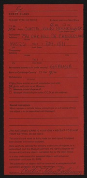 Entry card for Boehringer, Curtis John for the 1975 May Show.