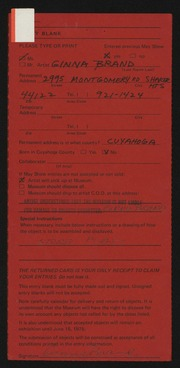 Entry card for Brand, Ginna for the 1975 May Show.