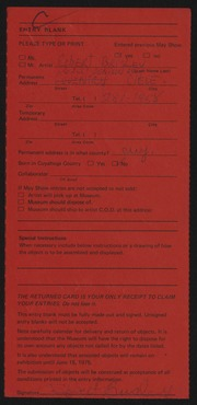 Entry card for Brisley, Robert Chapman for the 1975 May Show.
