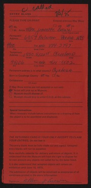 Entry card for Brown, Ellen Jeanette for the 1975 May Show.