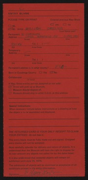 Entry card for Carlson, William, and Young, Brent Kee for the 1975 May Show.