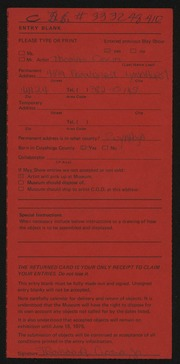 Entry card for Ciocia, Thomas  for the 1975 May Show.