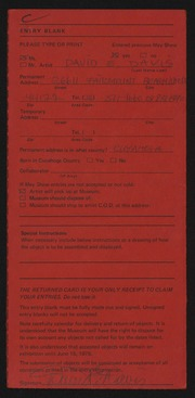 Entry card for Davis, David E. for the 1975 May Show.