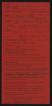 Entry card for Eubel, Karen Jean for the 1975 May Show.