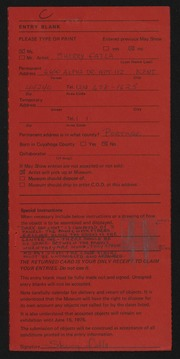 Entry card for Fatla, Sherry for the 1975 May Show.