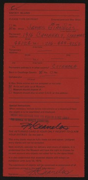 Entry card for Gianelos, James for the 1975 May Show.
