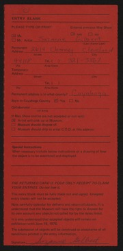 Entry card for Gilbert, Suzanne Riegel for the 1975 May Show.