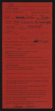 Entry card for Gordon, Joseph for the 1975 May Show.