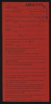 Entry card for Grauer, William C. for the 1975 May Show.