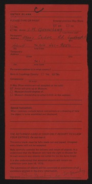 Entry card for Greenberg, Isadore M. for the 1975 May Show.