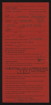 Entry card for Grossman, Morton for the 1975 May Show.