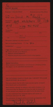 Entry card for Heald, David M. for the 1975 May Show.