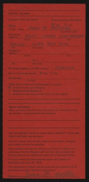 Entry card for Heffter, Jean Riddell Moodey for the 1975 May Show.