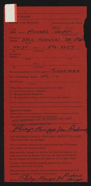 Entry card for Heipp, Richard Christian for the 1975 May Show.