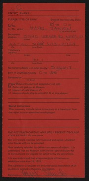 Entry card for Janicki, Hazel for the 1975 May Show.
