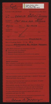 Entry card for Jeffery, Charles Bartley, and Wooddell, Joseph M. for the 1975 May Show.