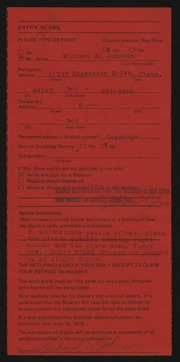 Entry card for Johnson, Richard E. for the 1975 May Show.