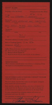 Entry card for Johnson, Sherman T. for the 1975 May Show.
