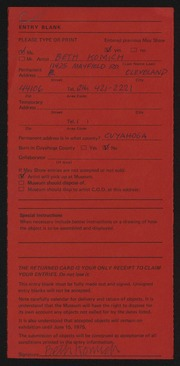Entry card for Komich, Beth for the 1975 May Show.