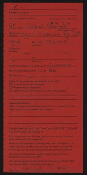 Entry card for Kramer, Gerald for the 1975 May Show.