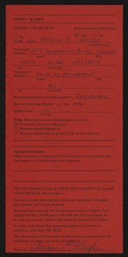 Entry card for Laufer, Anson  for the 1975 May Show.