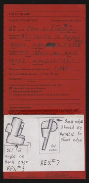Entry card for Lintala, Eric C. for the 1975 May Show.