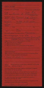 Entry card for Maxwell, Allan R., and Jones, Bill; Davis, Sandy for the 1975 May Show.