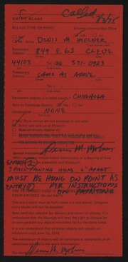 Entry card for Molner, Denis M. for the 1975 May Show.