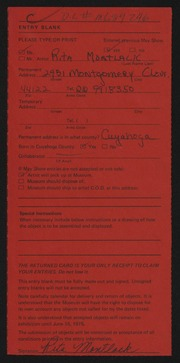 Entry card for Montlack, Rita for the 1975 May Show.