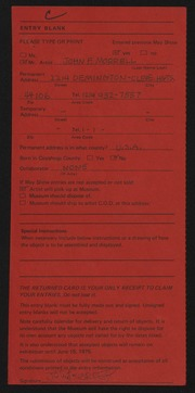 Entry card for Morrell, John F. for the 1975 May Show.