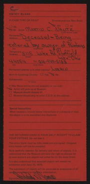 Entry card for Nantz, Martin C. for the 1975 May Show.