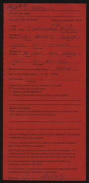 Entry card for Nichols, J. Christopher for the 1975 May Show.