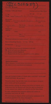 Entry card for Palmer, Robert for the 1975 May Show.