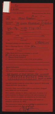 Entry card for Pearson, John for the 1975 May Show.