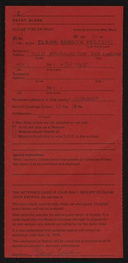Entry card for Pelosini, Elaine Bendock for the 1975 May Show.