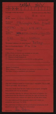 Entry card for Peters, Alan D. for the 1975 May Show.