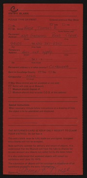 Entry card for Roese, Thomas R. for the 1975 May Show.