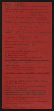 Entry card for Samson, Barbara Udelson for the 1975 May Show.