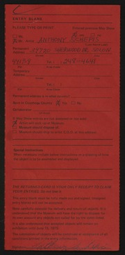 Entry card for Schepis, Anthony Joseph for the 1975 May Show.