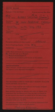 Entry card for Skuodas, Audrey for the 1975 May Show.