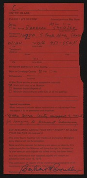 Entry card for Smukler, Barbara for the 1975 May Show.