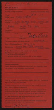 Entry card for Soroky, Phil for the 1975 May Show.